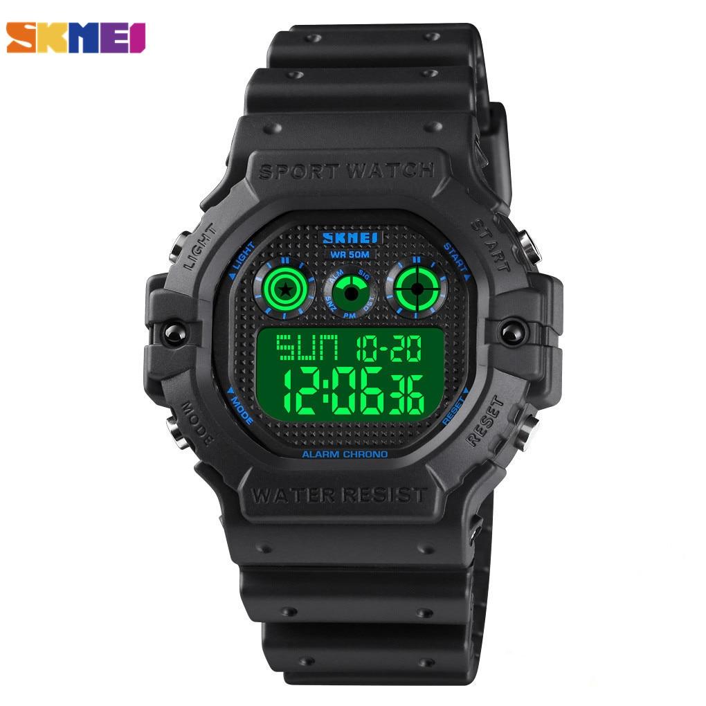 Relógios de Pulso 50m à Prova Skmei Militar Digital Sports Men Dwaterproof Água Relógio Cronômetro Eletrônico Masculino 1606 Luz Led