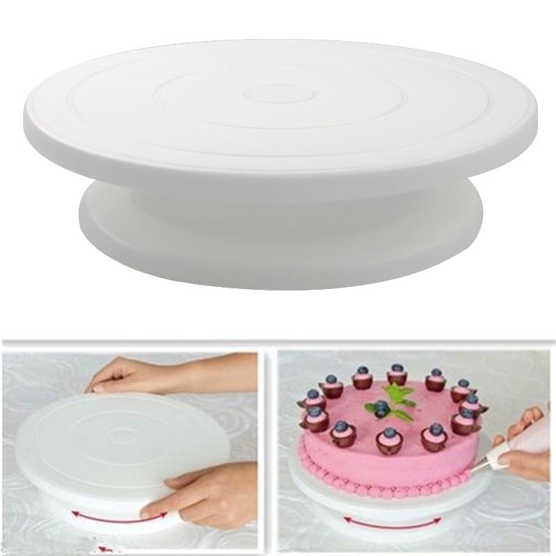 Plastic Cake Plate Turntable Rotating Rotary Stand Cake Pan Baking DIY Cake Round Kitchen Decorating Tool Table Anti-skid