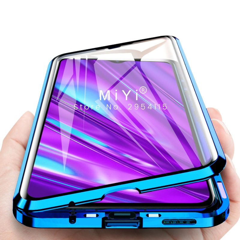 Funda magnética realme 5 pro q 360 ° cubierta de parachoques de metal de vidrio de doble cara para oppo reno ace a11 a11x a5 a3s a7 a9 pro f9 coque