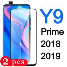 2 pièces couverture complète pour huawei y9 prime 2019 y9s y9 2018 film de protection verre trempé téléphone protecteur décran sur verre smartphone