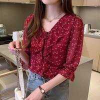 fashion female floral retro blouses chiffon casual shirt office ladies blouse 2021summer blouses for women