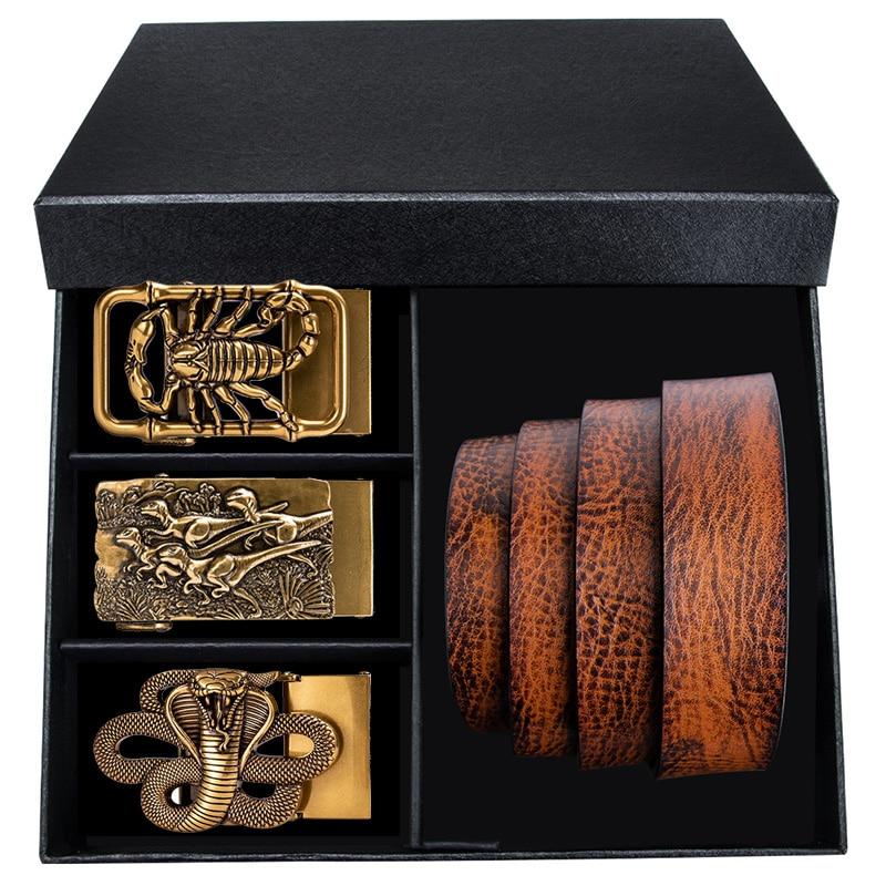 Hi-Tie-حزام جلد البقر الفاخر للرجال ، صندوق فاخر ، هدية ، حزام جلد البقر الأصلي للرجال ، حزام كاوبوي برتقالي غير رسمي ، حزام بإبزيم ذهبي