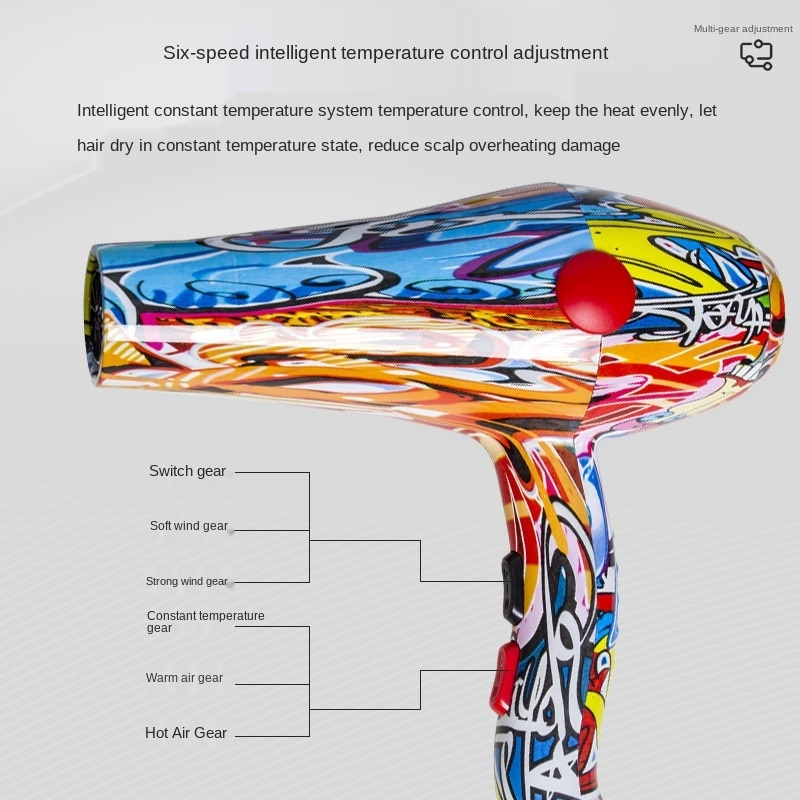 Hair-dryer 2000W Hotel Household Quiet Cold and Hot Air Professional Hairdressing Big Wind Three Adjustable enlarge