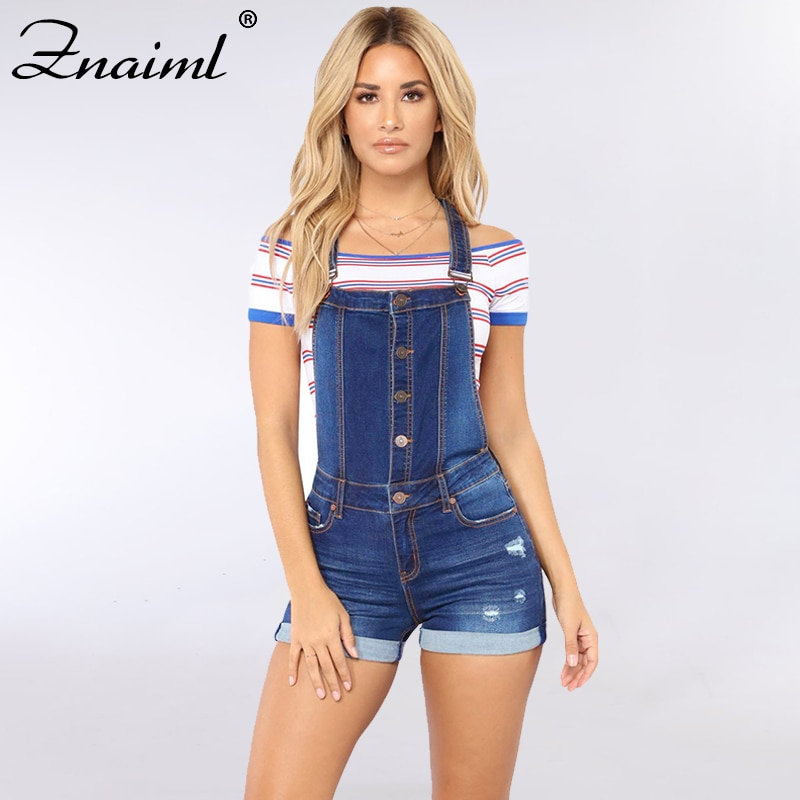 Znaiml Short Denim Overalls Women Ripped Jumpsuit Casual High Waist Elastic Playsuit Washed Straps 2021 Summer BF Jeans Romper