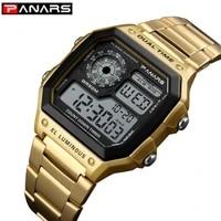 men watches 5bar waterproof sport watch panars gold stainless steel digital wristwatch business male clock relogio reloj hombre