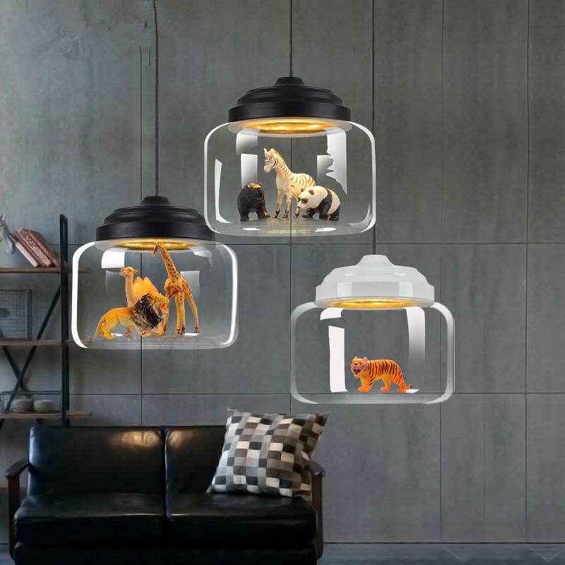 مصباح زجاجي معلق LED على شكل حيوان ، تصميم كرتوني ، تصميم شمالي لطيف ، تركيبات إضاءة زخرفية داخلية ، E27