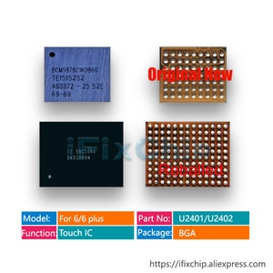 Reballed 343S0694/U2402 + New BCM5976/U2401 for iphone 6/6 plus/6plus touch screen controller driver black white color IC chip