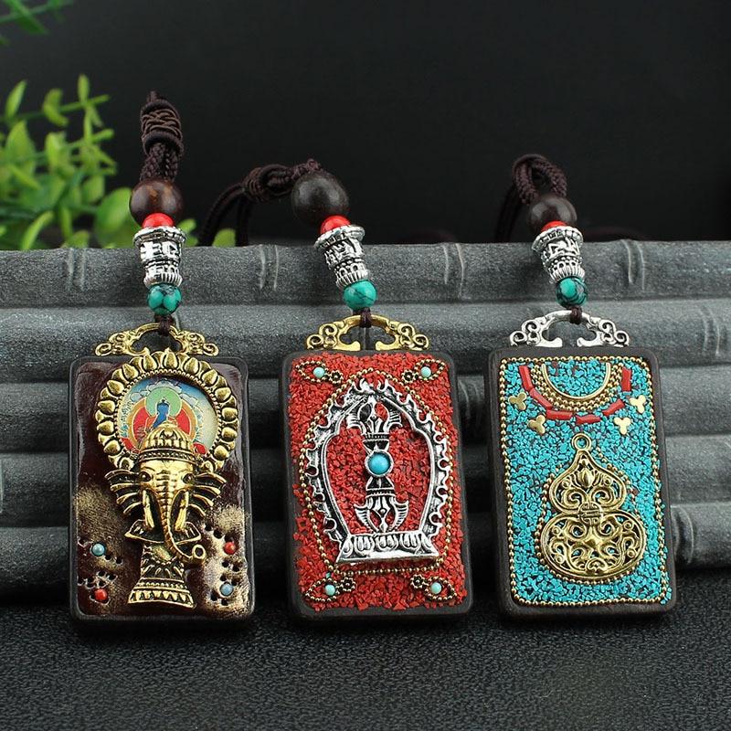 Fashion vintage Ancient Nepal Thangka Buddha statue god ebony Elephant pendant necklace exotic for men and women sweater chain
