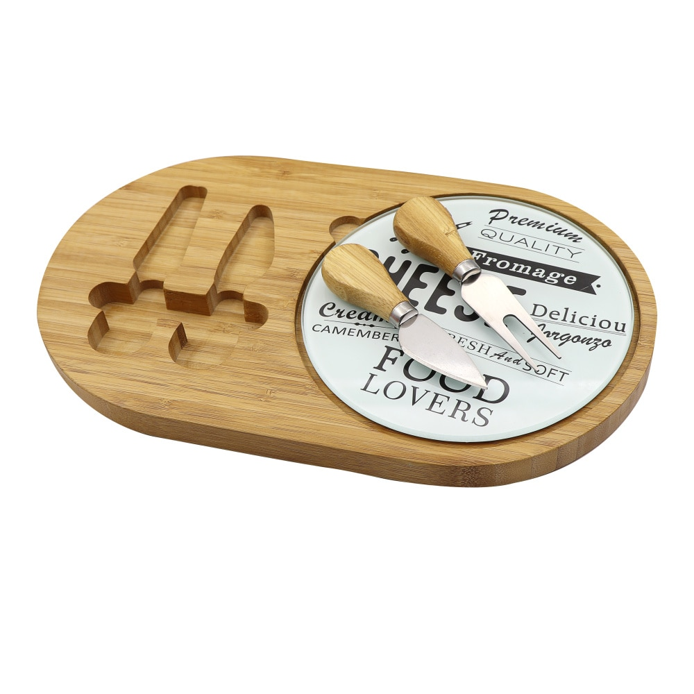 Jaswehome-طقم جبن ، لوح زجاجي ، لوح تقطيع من الخيزران مع سكين جبن مدمج ، أواني المطبخ