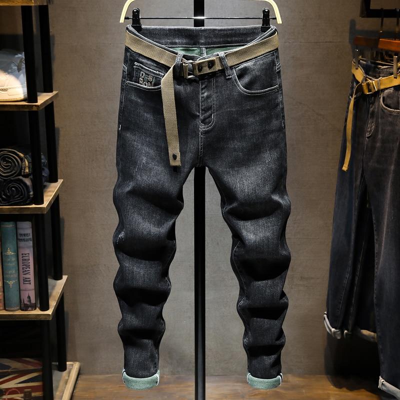 Новые дизайнерские модные мужские джинсы Ретро Черные Серые Эластичные зауженные рваные джинсы мужские винтажные повседневные брюки с выш...