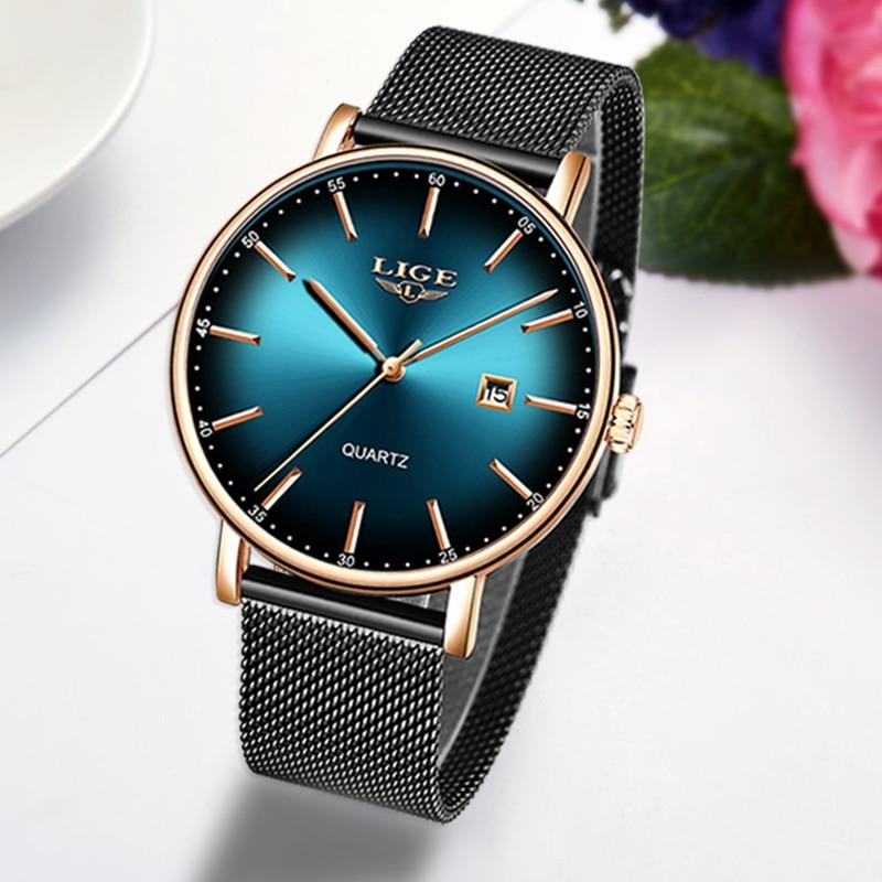 LIGE 2020 New Women Watch Top Brand Luxury Ladies Mesh Belt Ultra-thin Watch Stainless Steel Waterproof Quartz Watch Reloj Mujer enlarge