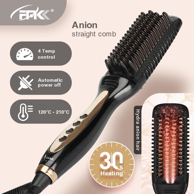 FMK PTC-فرشاة سيراميك لفرد الشعر ، مشط كهربائي احترافي ، مضاد للكهرباء الساكنة ، PTC