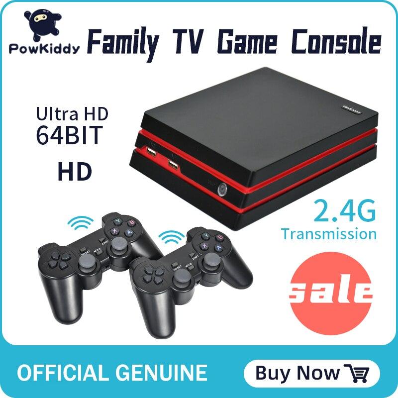 Powkiddy retro video game console com 2.4g gamepads sem fio 2000 jogos para hd família tv console de jogos apoio instalação rom