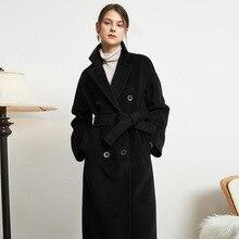 ¡Novedad de 2020! Gabardina de otoño para mujer, prendas de vestir de color caqui, ropa ajustada con cinturón, abrigo largo de lana