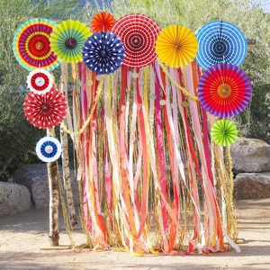 New 6 Pcs/Set Paper Crafts Home Hanging Decoration Party Birthday Wedding Baby Shower Supplies Sunshine Bright Color Paper Fan