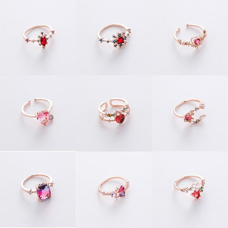 MWsonya, nuevos anillos coreanos de circonita cúbica con flores de corazón, anillos ajustables para mujer, joyería de moda con gota de Agua de Cristal para fiesta