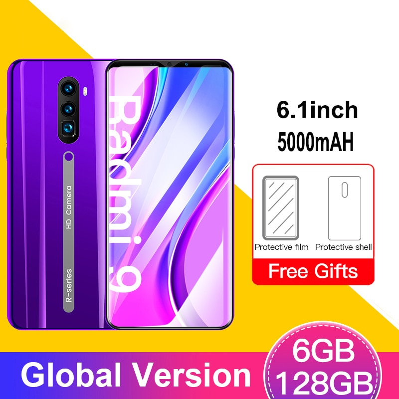 Model 9 6GB+128GB Smartphone 5000mAH Global Version 4G Smart Cell Phone 6.1inch 13MP Dual SIM Android Face ID Mobile Cellphones
