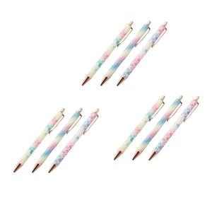 9 Pcs Ballpoint Pens Metal Retractable Pen Black Ink 1mm Medium Point Glitter Rose Gold Click Ball Pens Gifts