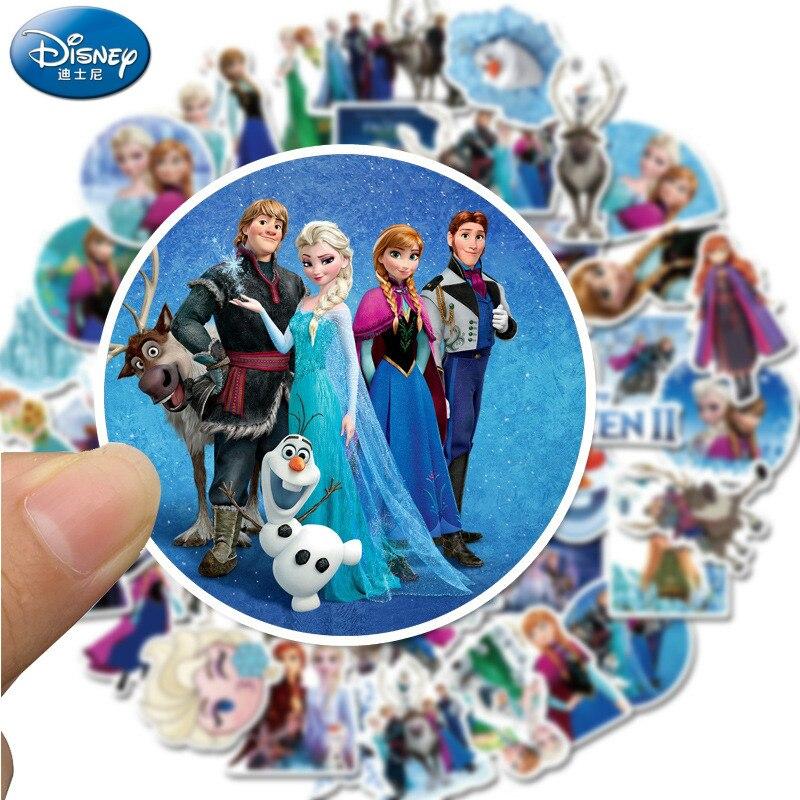 50 Uds Disney película FROZEN 2 pegatina de animación pegatina de princesa de Disney Etiqueta de personalidad del ordenador portátil