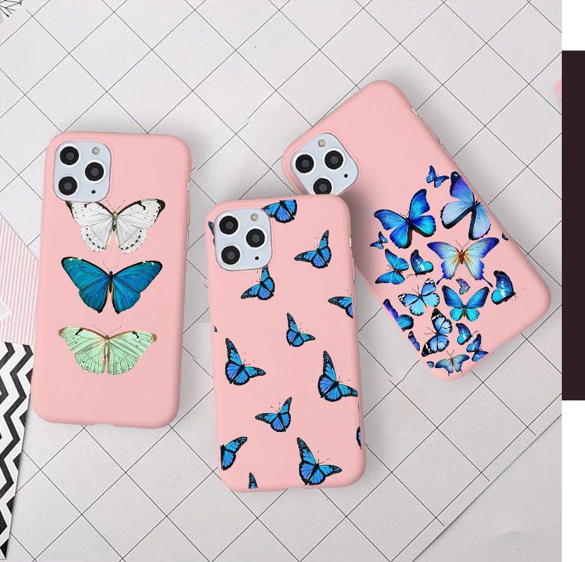 Hermosa mariposa monarca azul pastel color brillante y Mate teléfono Rosa caso para iPhone 11 Pro Max X XR XS 8 7s 7s 6s Plus Premium
