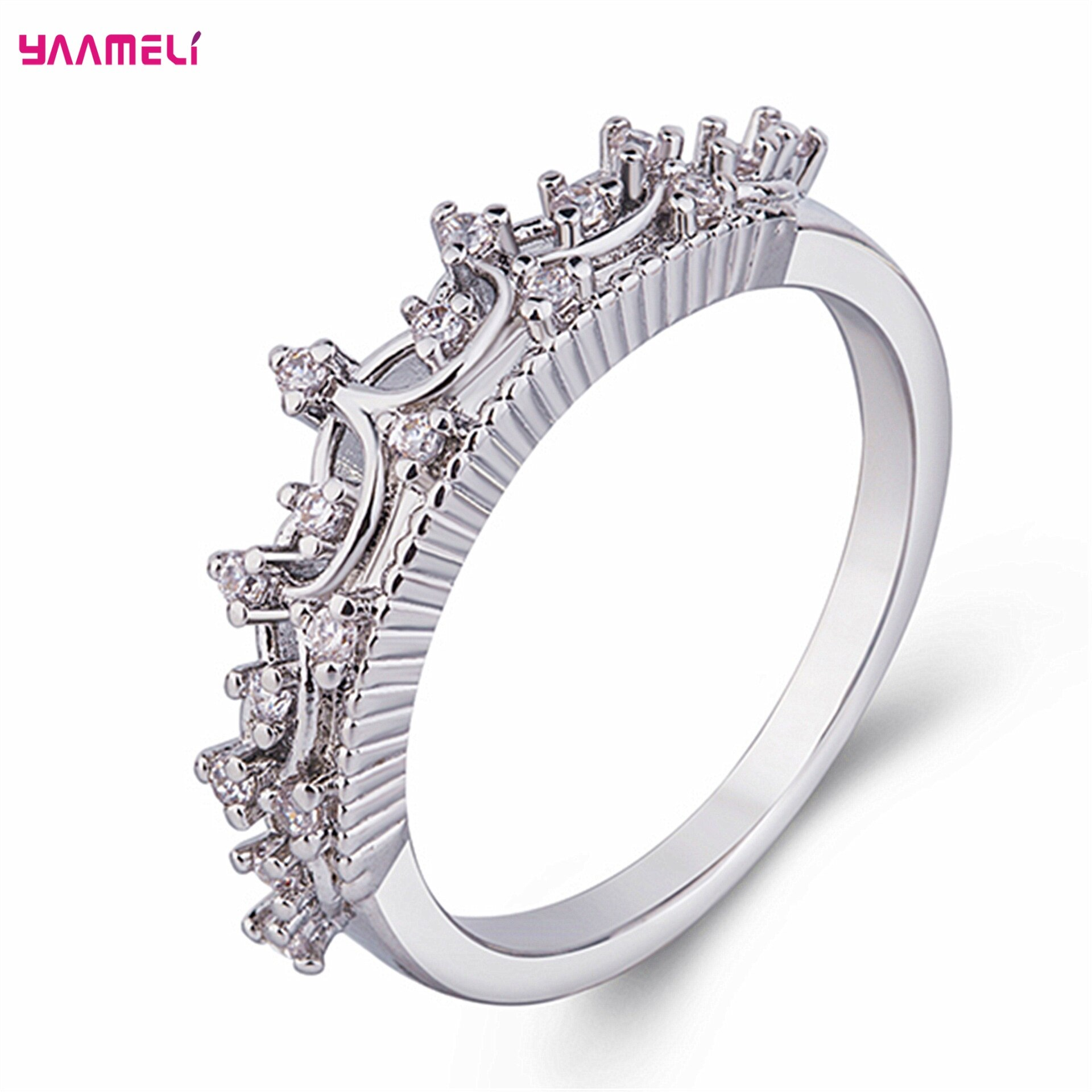 Fashion Simple Crown Cubic Zirconia 925 Sterling Silver Wedding Rings For Women Finger Ring Jewelry Gifts Bijoux