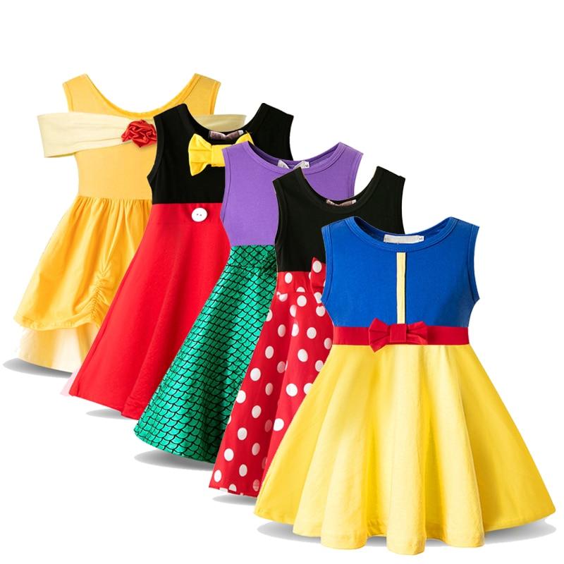 Disfraz de princesa para niña bebé, ropa blanca de nieve para niñas pequeñas, vestido de ratón de fantasía de lunares, ropa para niños de 3 a 8 años