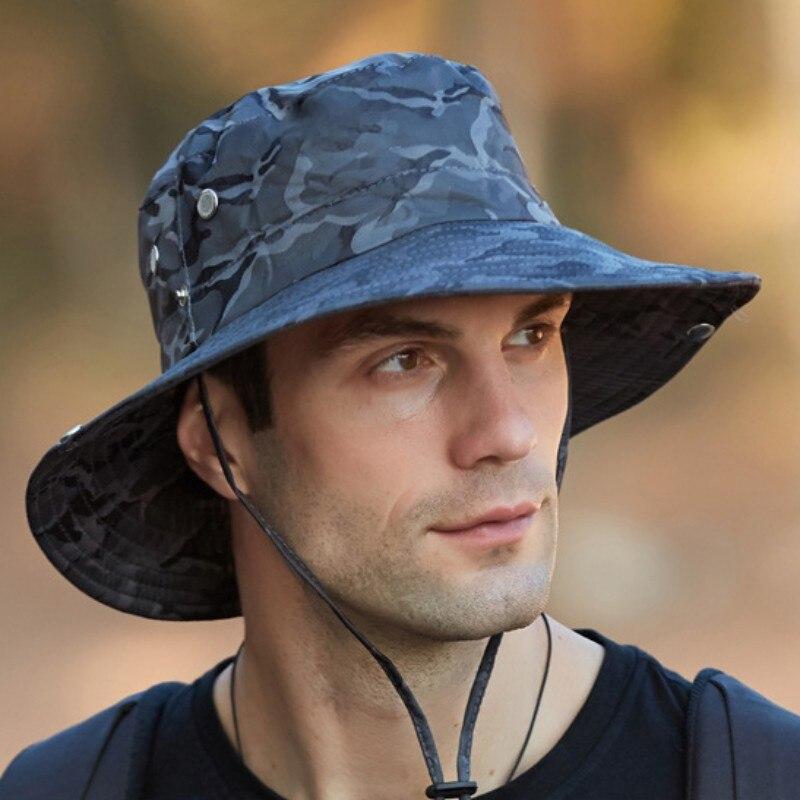 UPF 50 + sombrero de sol cubo otoño hombres mujeres pesca Boonie sombrero de protección solar UV largo grande ala ancha de malla senderismo gorra al aire libre