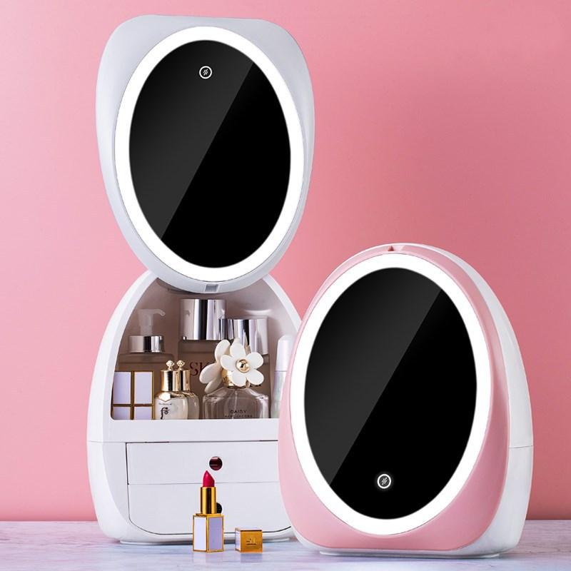 درج مصباح ليد منظم سطح المكتب HD مرآة ماكياج المنظم الإبداعية صندوق تخزين مستحضرات التجميل بروتابلي الجمال صندوق دروبشيبينغ