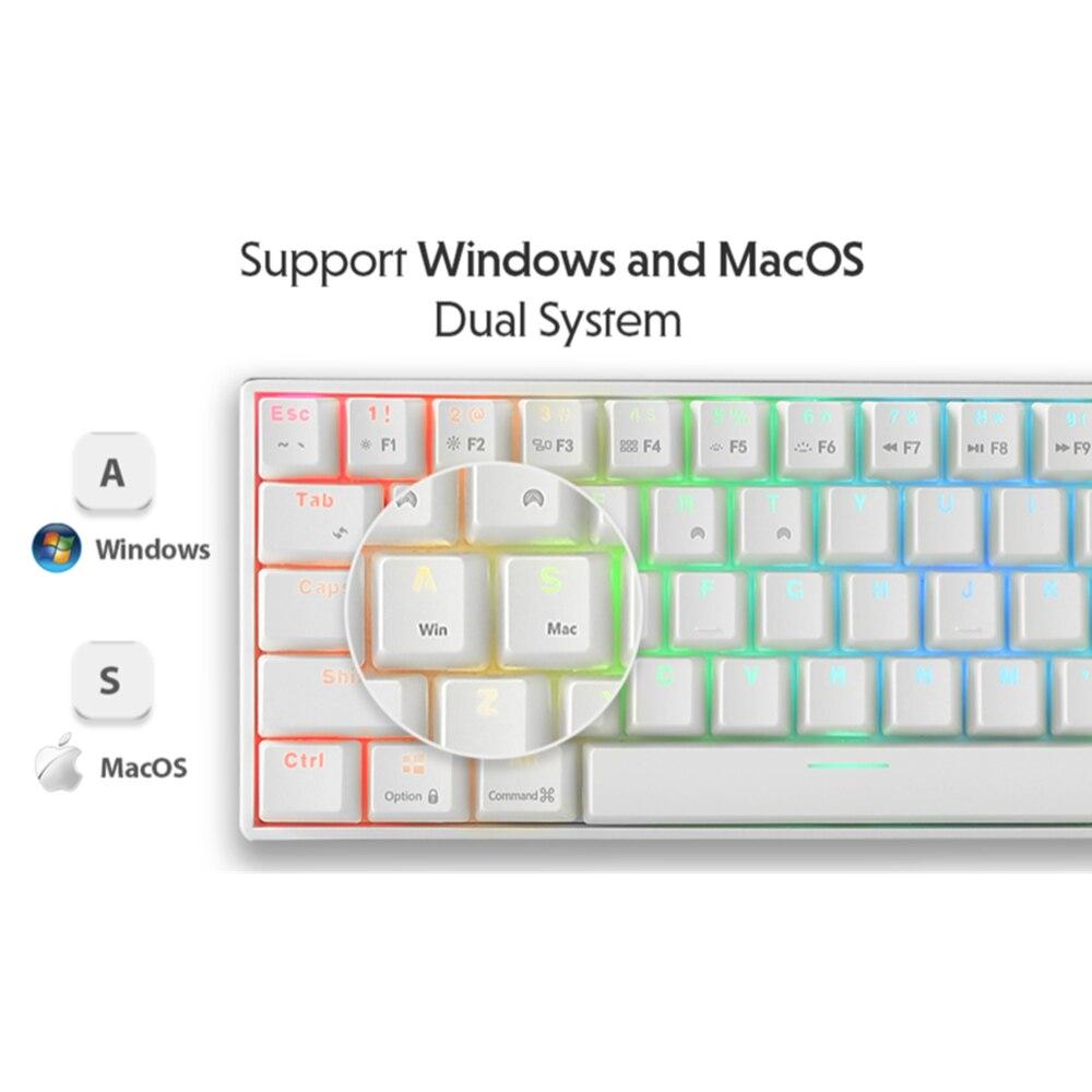 Royal Kludge RK71 Mechanic Keyboard Gaming Bluetooth RGB 71 Keys One Hand Typewriter Keyboard For Office Laptop