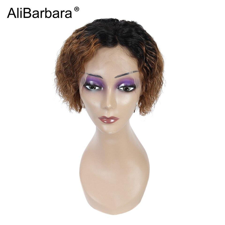 1B/27 ombre di colore della parrucca del merletto Brasiliano Onda Profonda Del Merletto Anteriore parrucche Dei Capelli Umani per le donne nere parte laterale breve parrucche del merletto frontale