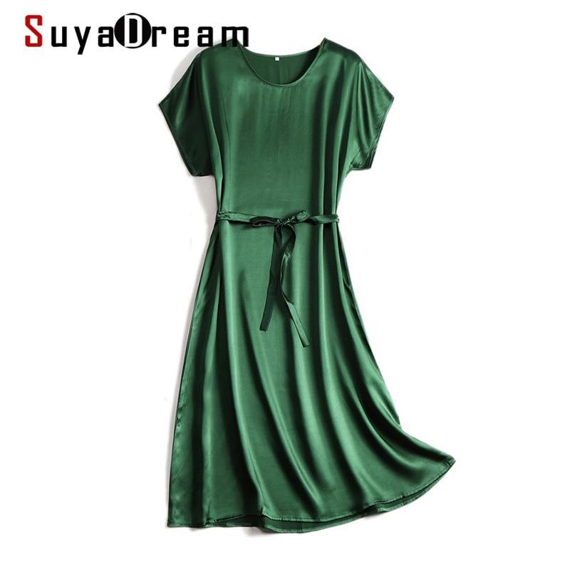 SuyaDream Woman Midi Dress 100%Silk Satin Solid Bat Sleeves Sashes Dresses 2021 Spring Summer Green Black Chic