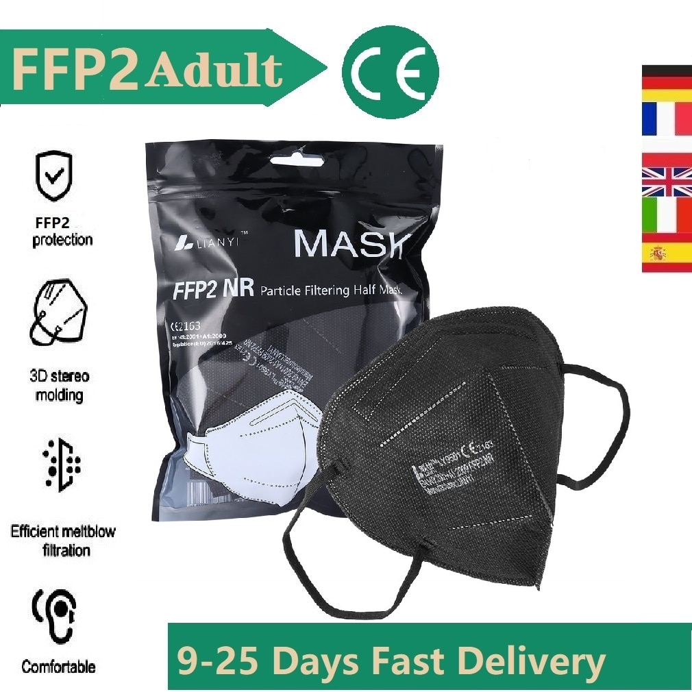 1-200PCS FFP2 Black & White Mouth Mask Mascarillas Safety Care 5 Layers FPP2 Homologada Face Protect