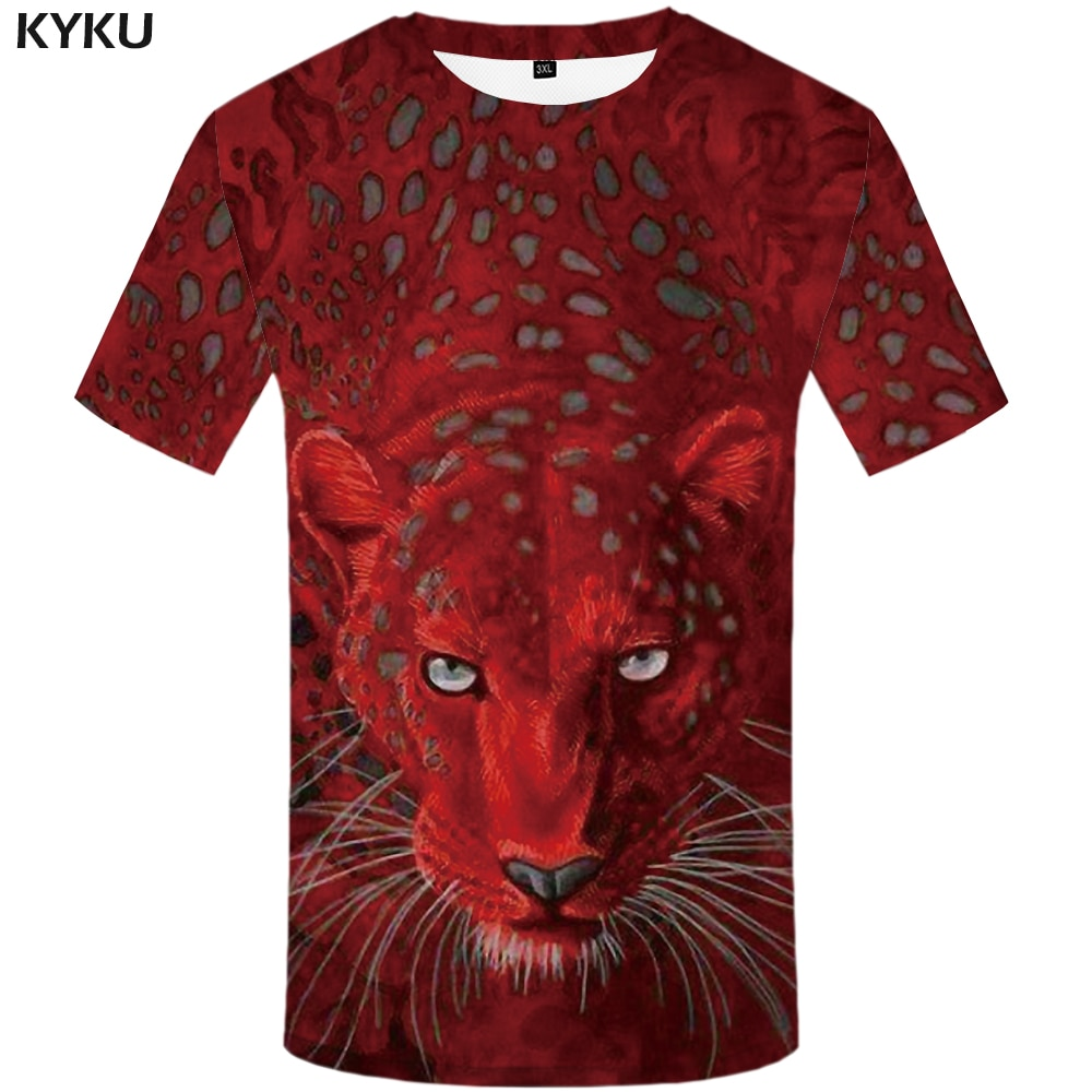KYKU Leopard T shirts Men Animal T-shirt Printed Tshirt Red 3d t shirt hip hop tee cool mens shirt Hip hop summer Short Sleeve flame butterfly street fashon t shirt men 2020 summer crew neck men s tshirt hip hop tee shirts