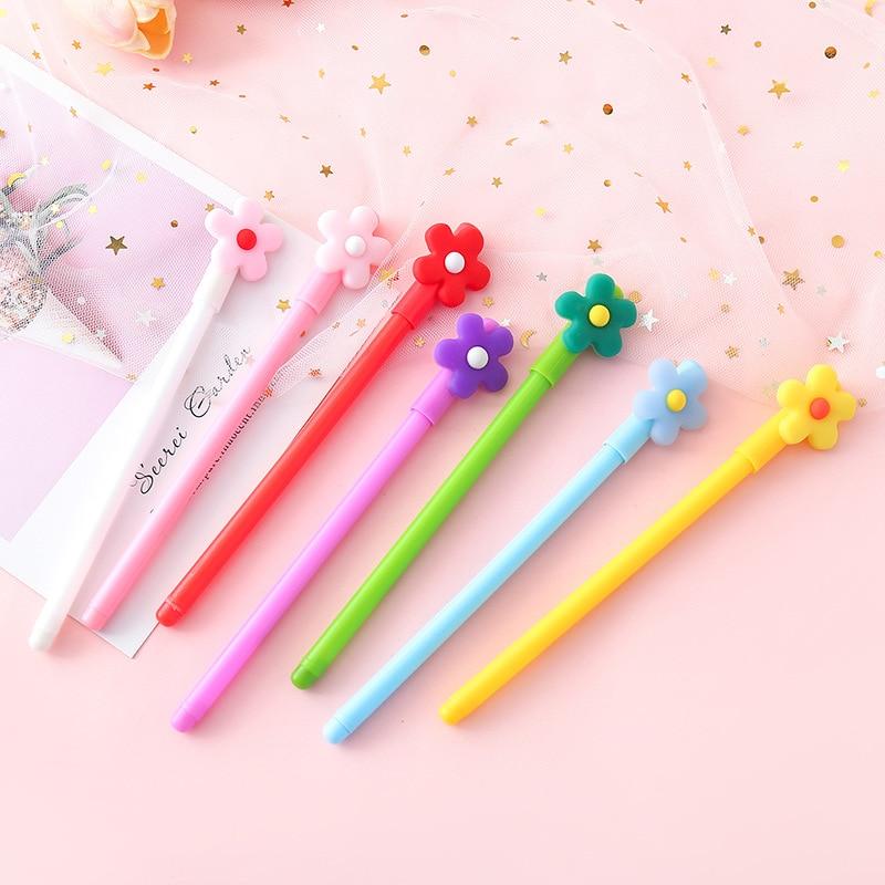 50 pcs/lot Flower Gel Pens Cute 0.5 mm Black Ink Signature Pen School writing Supplies Stationery Promotional gift