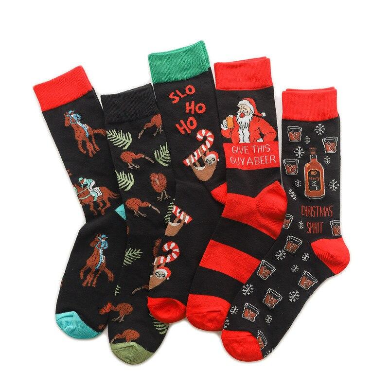 Meias de natal dos homens tripulação dos desenhos animados homem meias adulto kawaii sox diversão alta qualidade algodão quente outono inverno unisex na moda calcetines