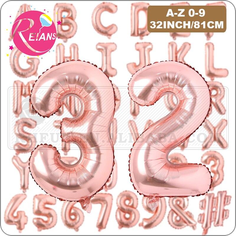32 pulgadas A-Z 0-9 oro rosa hoja helio carta globo inflar globos boda niños cumpleaños fiesta Baby Shower decoración globos
