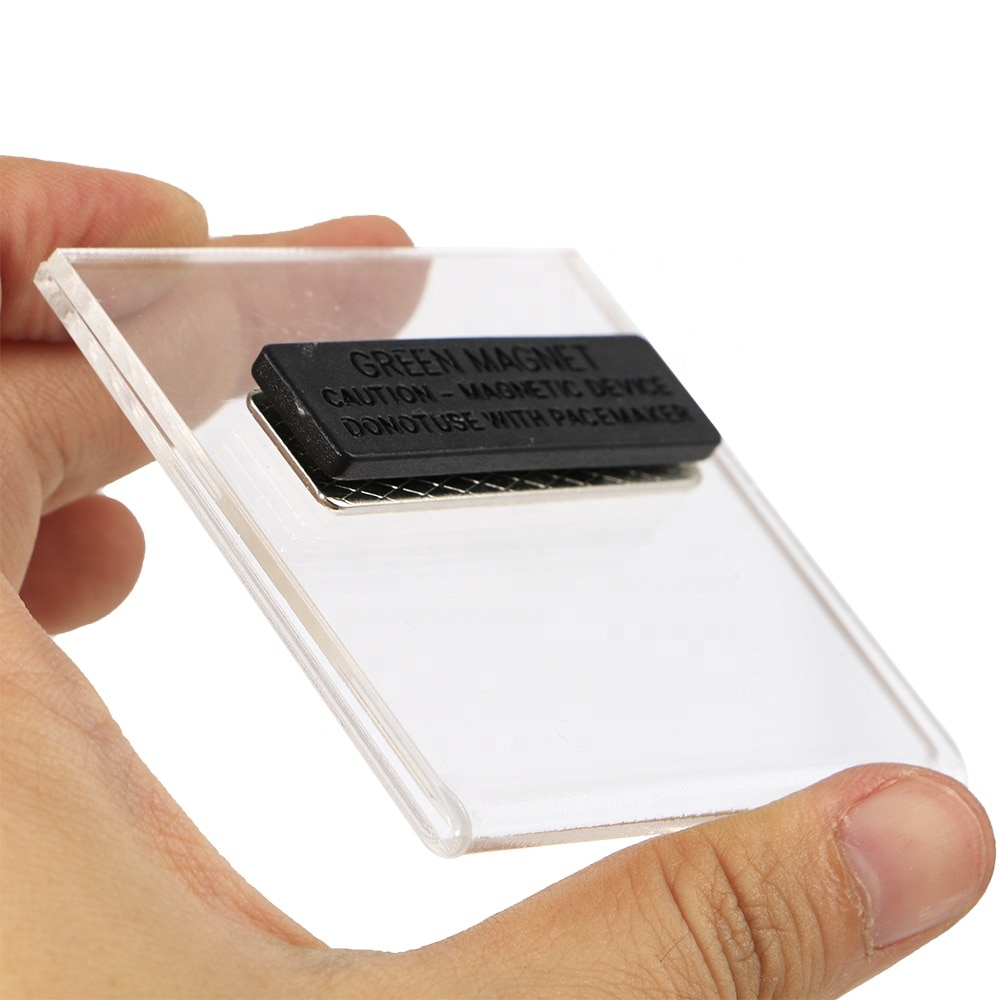 6x6cm Magnetic Acrylic Label Frame Name Tag Sleeve Id Card Holder Badge For Company Staff Student Display Name Logo