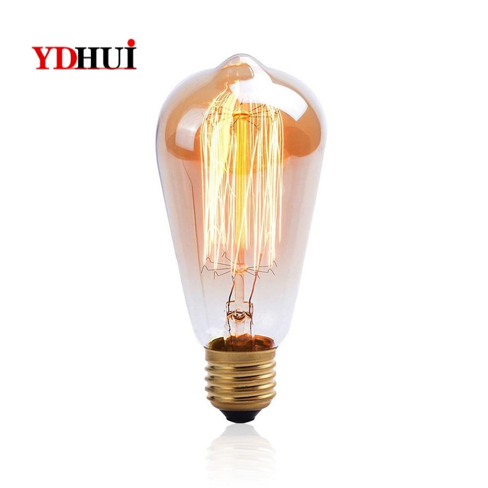 Glass Incandescent Bulbs W-Filament Bulb Tungsten Filament Edison Type E27 AC120V Transparent