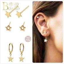 925 Sterling Silver Earrings For Women Gold Star Earrings Girl Gift Ear Bone Stud Earrings Female Cartilage Star Shape aretes Z5