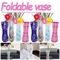 pvc folding durable flower vase foldable flower vase for home wedding party decoration easy to store flower vase color random