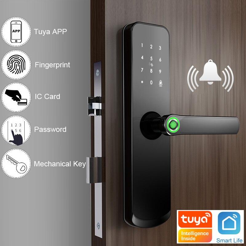 RAYKUBE Fingerprint Door Lock Wifi Tuya APP Password 13.56MHZ IC Card Keyless Unlock Mortise Lock Smart Home X7