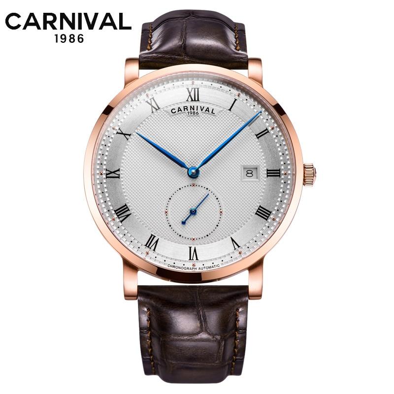 Marca de Luxo Calendário de Moda à Prova Subiu de Prata de Ouro Automático do Relógio de Pulso Carnaval Relógios Homens Água Mecânico Relógio Masculino d'