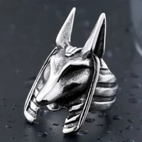 new trendy egyptian guardian anubis head ring mens ring metal animal head ring accessories party jewelry