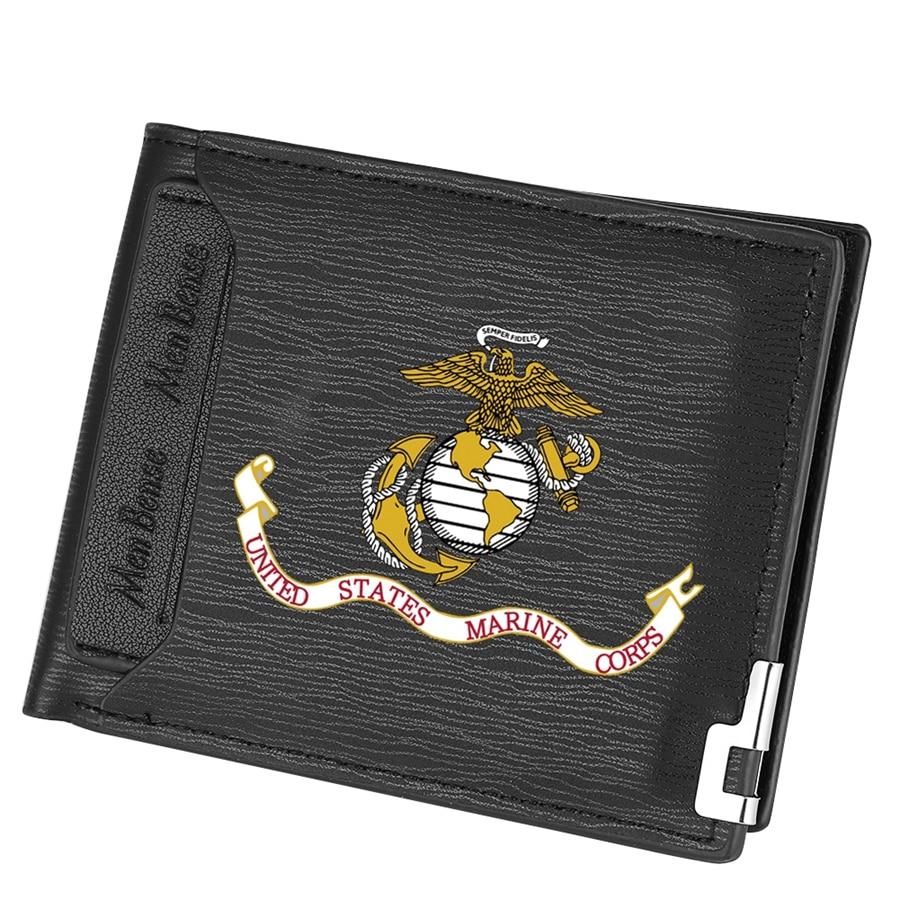 Creative US Marines Flag Logo Short Slim Wallets Vintage Male Purse Money Clip Credit Coin Bag Zipper Wallet Portomonee Carteria