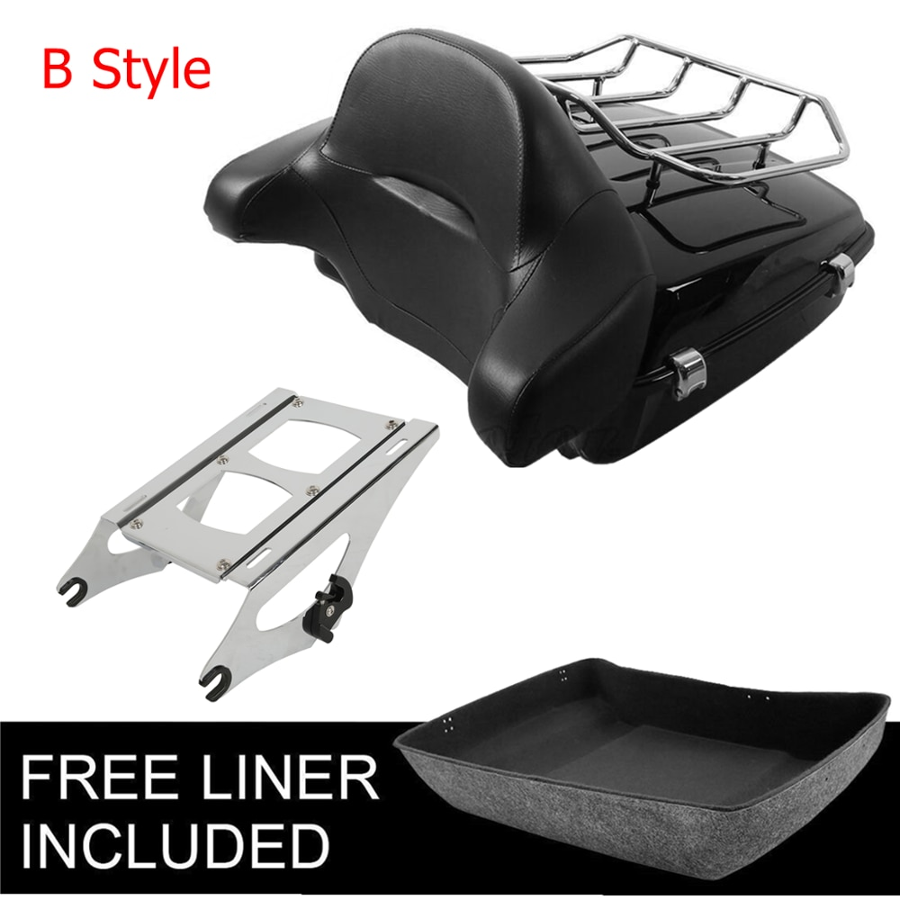 Motorcycle Chopped Trunk Luggage Rack Backrest For Harley Tour Pak Touring Road King Street Glide 2014-2019