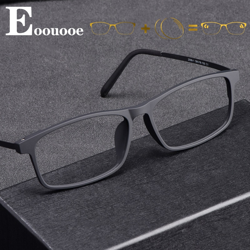 Titanium Square Prescription Glasses Men TR90 Optical Myopia Hyperopia Anti Blue Light Eyeglasses Ph