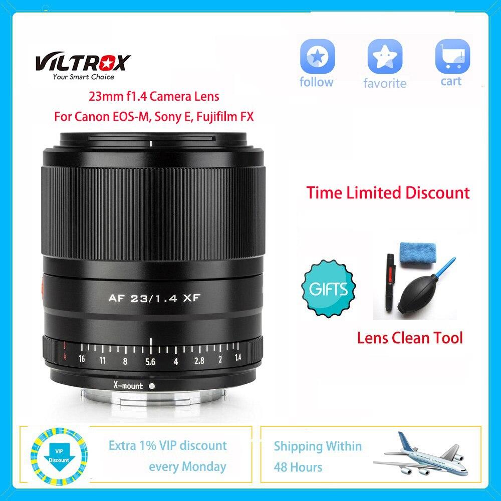 VILTROX 23 مللي متر f1.4 عدسة الكاميرا STM ضبط تلقائي للصورة APS-C استوديو الصور لسوني E كانون EOS-M Fujifilm FX X-T3 X20 T30 X-T20 X-T100