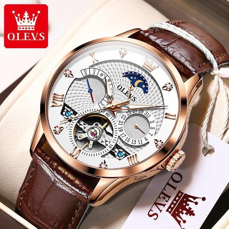 OLEVS Luxury Brand Automatic Mechanical Men Watches Calendar Week Display Casual Dress Waterproof Wr