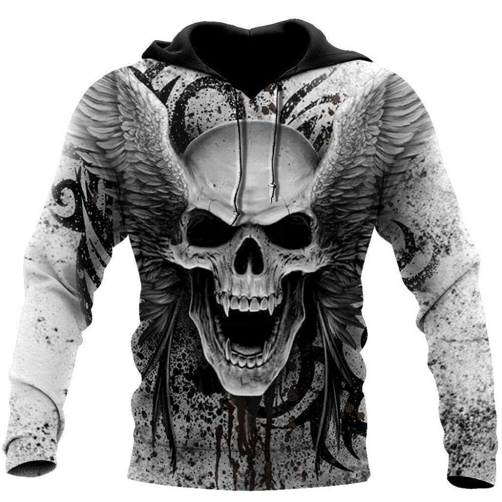 Толстовка мужская с 3D-принтом черепа, черная кофта с капюшоном, пуловер в стиле Харадзюку, свитшот, куртка в стиле хип-хоп, спортивный костюм ...