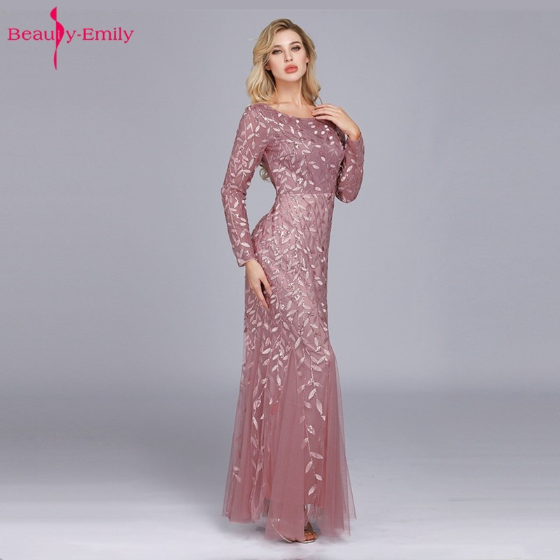 Beauty-Emily-فستان سهرة بأكمام طويلة ، فستان سهرة على شكل حورية البحر مزين بالترتر وطيات ، ياقة دائرية ، للمسلمين
